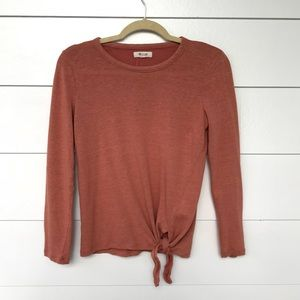 Madewell Orange Soundcheck Side Tie Top Size M